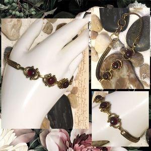 Genuine Garnet Vintage Brass Statement Bracelet